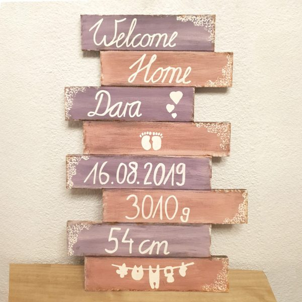 Geburtstafel gross: Purple Rain und Elegant Rose